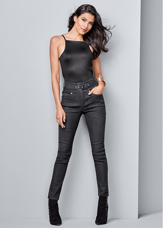 BELTED HIGH WAIST JEANS,STRAPPY BACK BODYSUIT,LACE UP BOOTIE,METAL CUFF