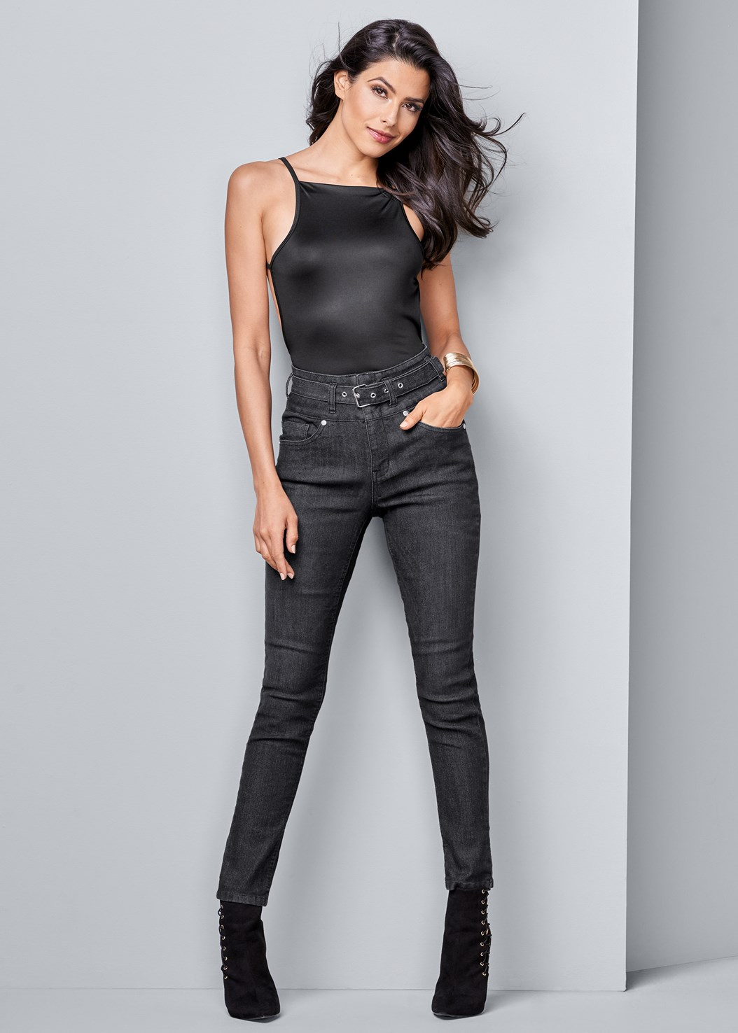 Belted High Waist Jeans
