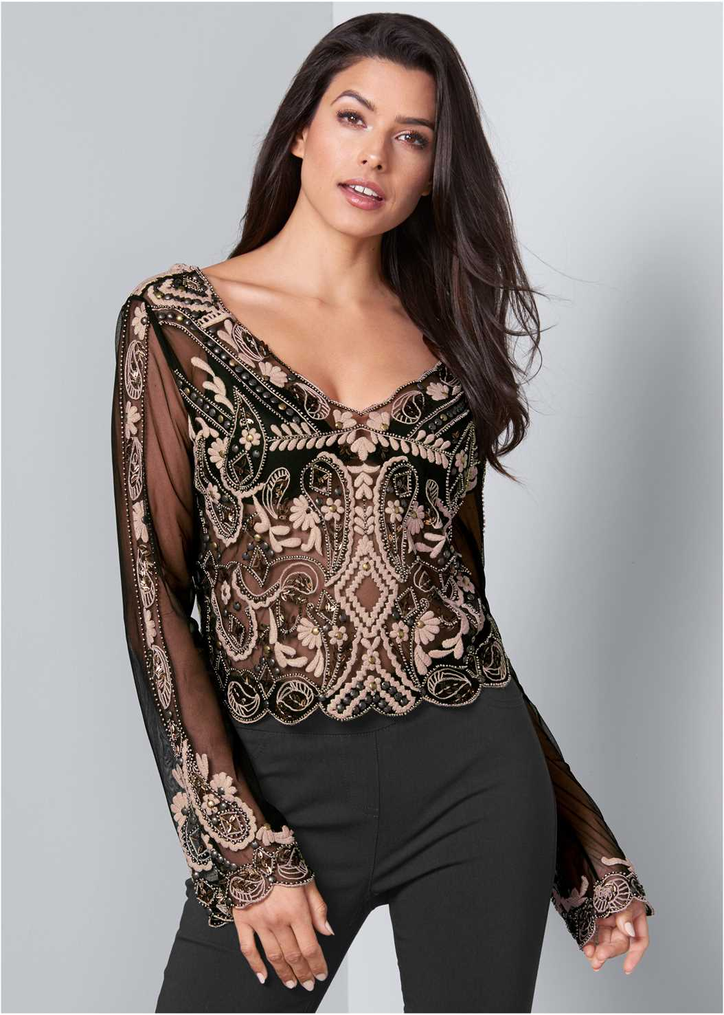 Embroidered Blouse,Mid Rise Slimming Stretch Jeggings