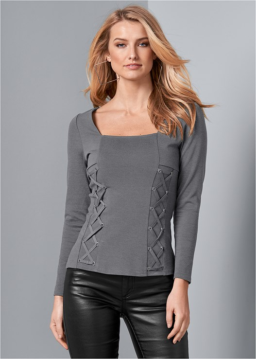 Lace Up Square Neck Top In Dark Grey Venus