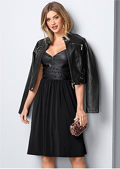 faux leather detail dress