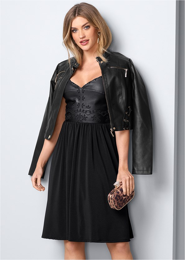 Faux Leather Detail Dress,Full Figure Strapless Bra,Confidence Tummy Cincher,Faux Leather Lace Up Jacket,Stud Detail Booties