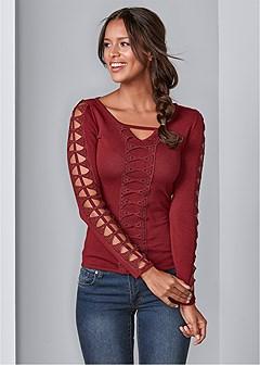 lattice detail sweater