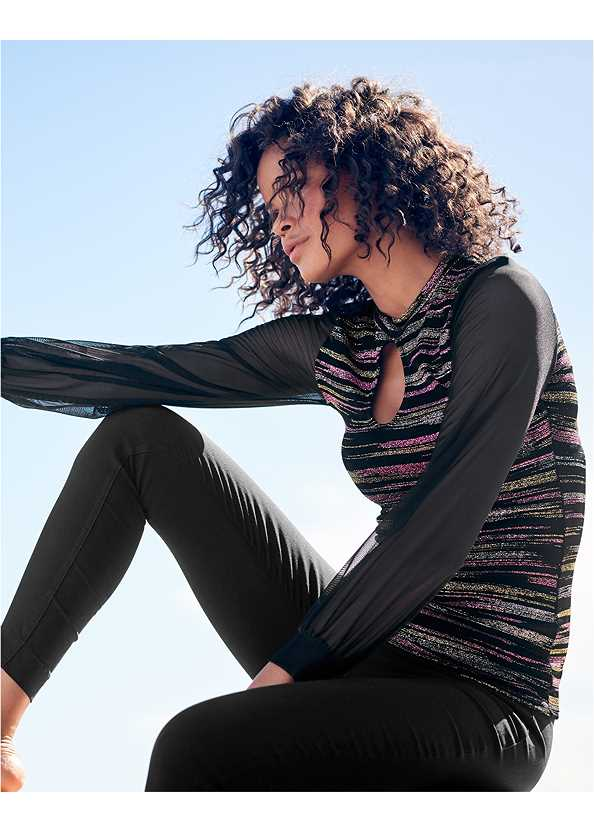Glitter Mesh Top,Mid Rise Slimming Stretch Jeggings