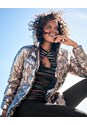 Cropped Front View Metallic Long Jacket