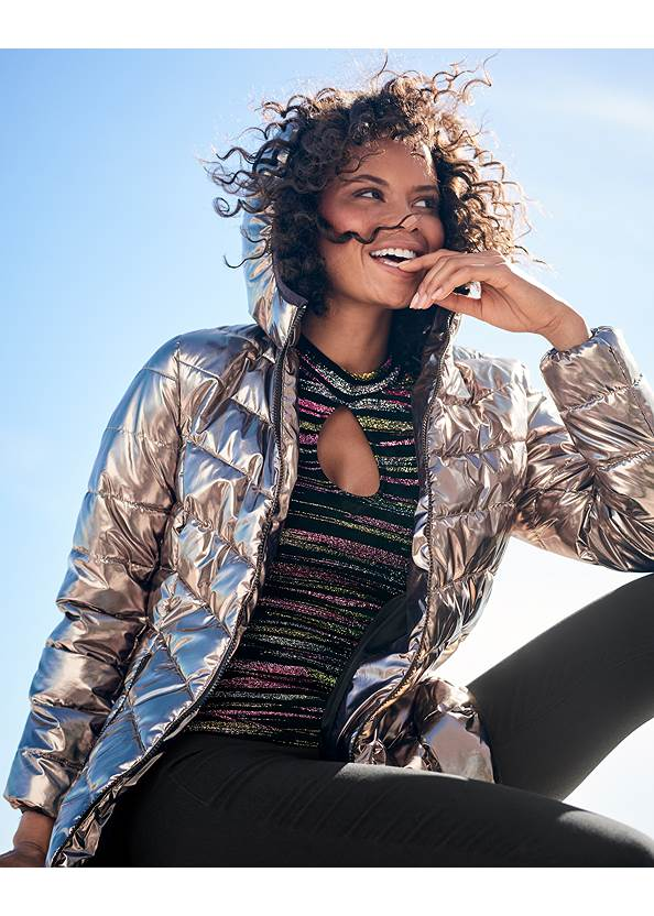 Metallic Long Jacket,Glitter Mesh Top,Long And Lean V-Neck Tee,Mid Rise Slimming Stretch Jeggings