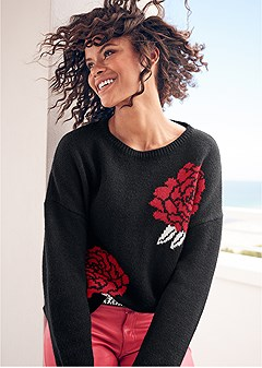 rose print sweater