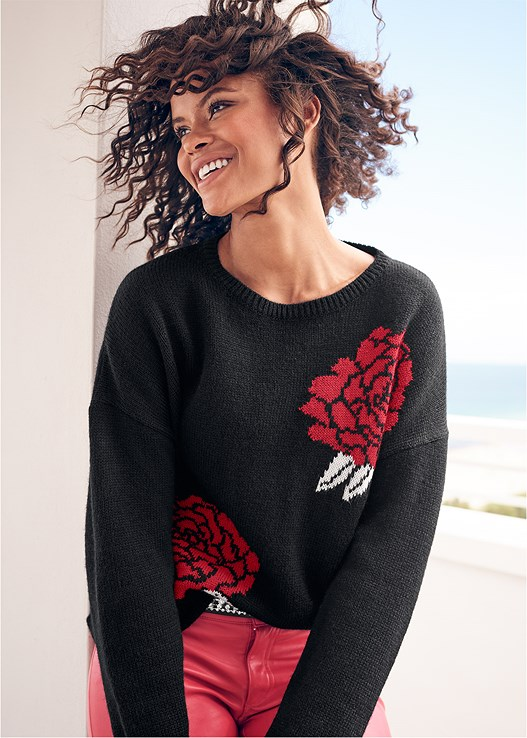 ROSE PRINT SWEATER,FAUX LEATHER PANTS,PUSH UP BRA BUY 2 FOR $40,HIGH HEEL STRAPPY SANDALS,PERFORATED BOOTS,EMBELLISHED WAIST BELT,BEADED DROP EARRINGS