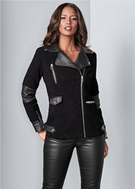 Front View Faux Sherpa Coat