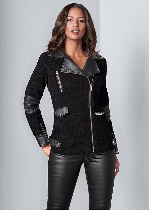 Faux Sherpa Coat,Faux Leather Pants,Lucite Detail Heels