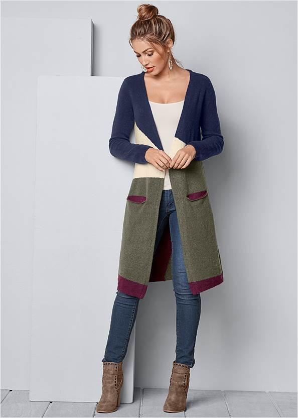 Color Block Cardigan,Basic Cami Two Pack,Mid Rise Color Skinny Jeans,Wrap Stitch Detail Booties,Beaded Drop Earrings