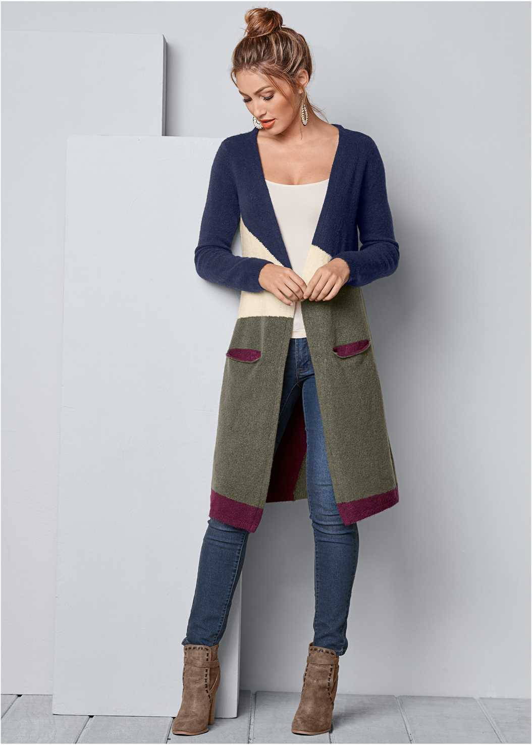 Color Block Cardigan,Basic Cami Two Pack,Mid Rise Color Skinny Jeans,Beaded Drop Earrings