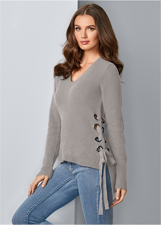 SIDE LACE UP SWEATER,COLOR SKINNY JEANS,NAKED T-SHIRT BRA,WRAP STITCH DETAIL BOOTIES