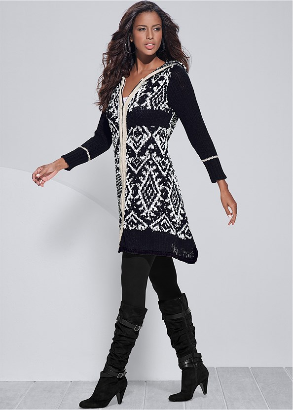 Printed Zip Up Cardigan,Basic Cami Two Pack,Basic Leggings,Slouchy Layered Strap Boots,Stud Detail Crossbody