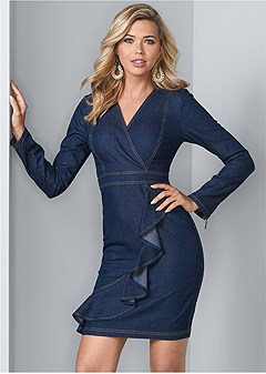 denim ruffle detail dress