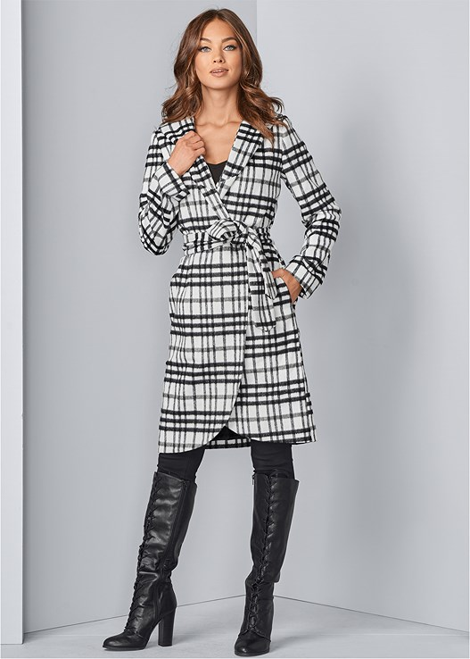 HOODED WRAP COAT,SLIMMING STRETCH JEGGINGS,LACE UP TALL BOOTS