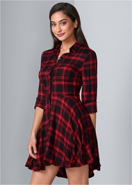 Front View Plaid High Low Dress