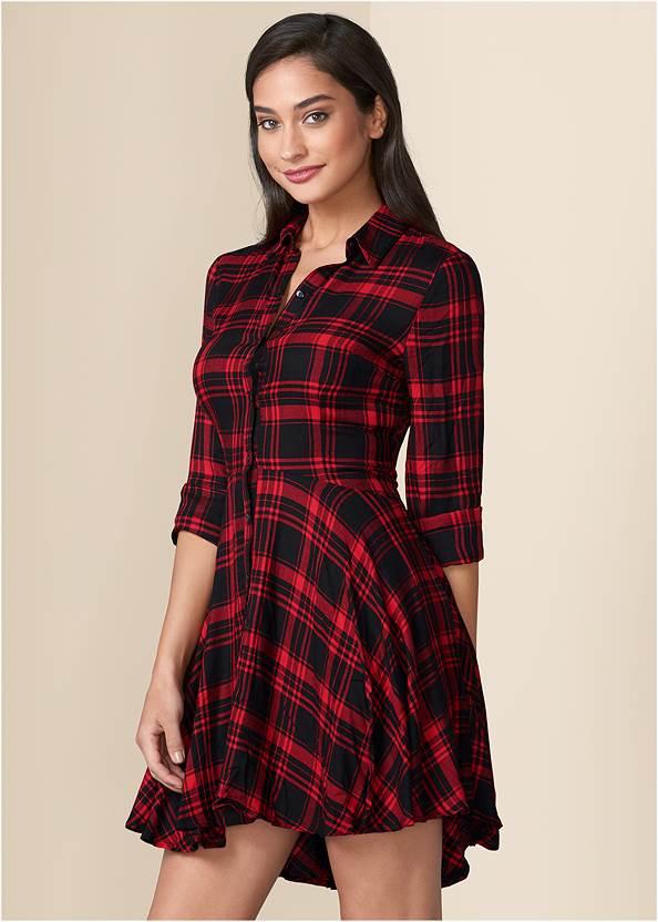 Plaid High Low Dress,Satin Lace Bra/Thong Set