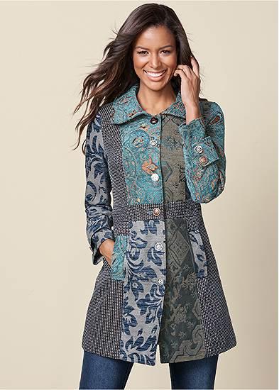 Mixed Print Coat