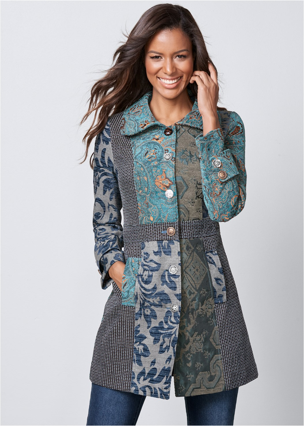 Mixed Print Coat,Basic Cami Two Pack,Mid Rise Color Skinny Jeans