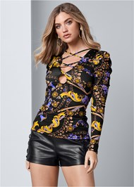 Front View Draped Sleeve Print Top