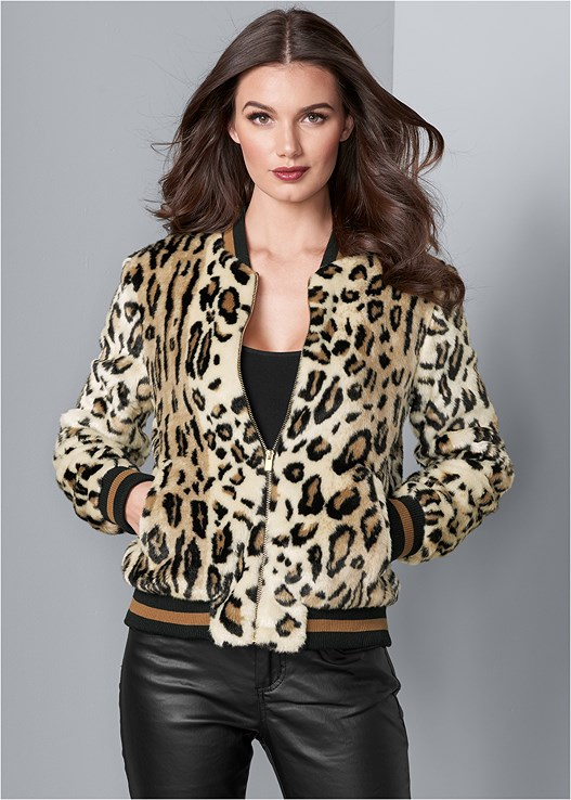 LEOPARD BOMBER JACKET,SEAMLESS CAMI,FAUX LEATHER PANTS