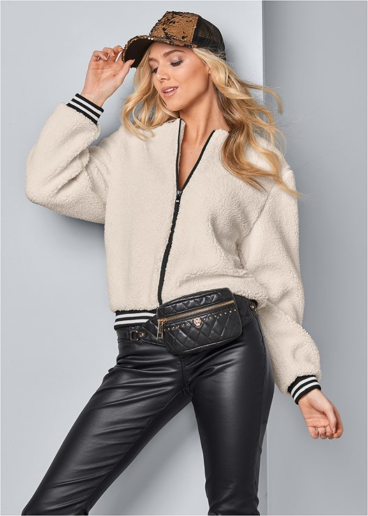 FAUX FUR BOMBER JACKET,FAUX LEATHER PANTS,KISSABLE STRAPPY PUSH UP,BUCKLE DETAIL BOOTIES,SEQUIN DETAIL BASEBALL CAP,QUILTED BELT BAG