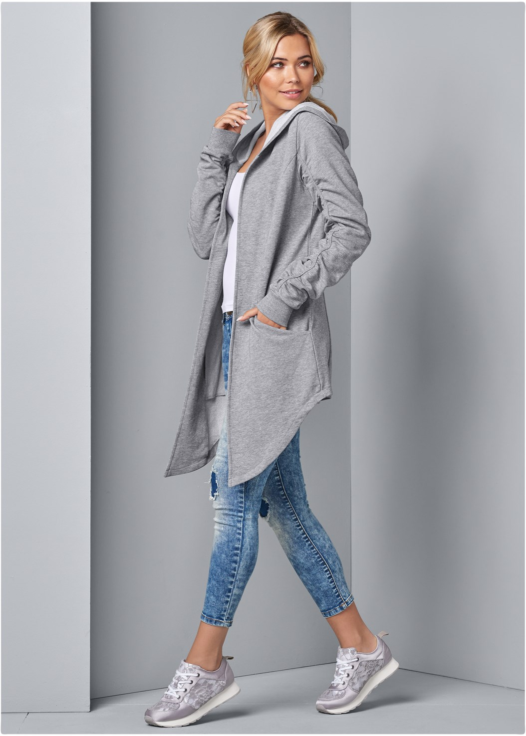 Asymmetrical Lounge Hoodie,Seamless Cami,Acid Wash Jeans,Bralette 2 Pack,Sweater Trim Boot,Stud Detail Scarf