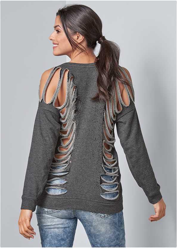 Slash Detail Sweatshirt,Ripped Skinny Jeans,Kissable Strappy Back Bra