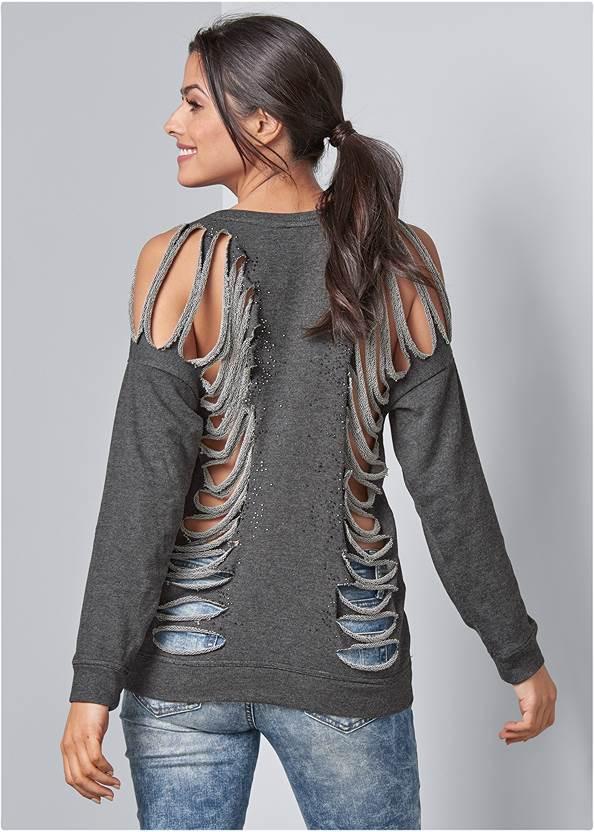 Slash Detail Sweatshirt,Ripped Skinny Jeans,Square Hoop Earrings
