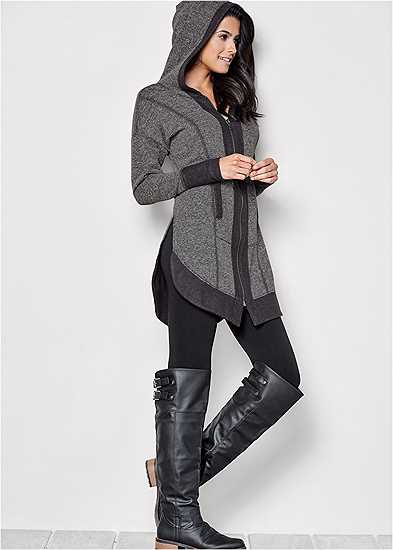 Tunic Length Zip Up Hoodie Jacket