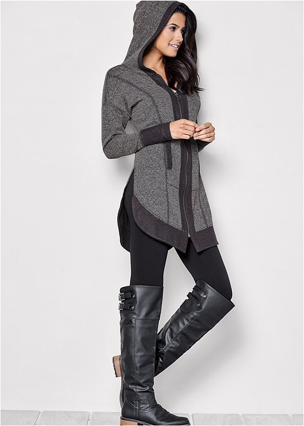 Tunic Length Zip Up Hoodie Jacket,Basic Cami Two Pack,Basic Leggings,Stretch Back Boots,Slouchy Mid Calf Boots