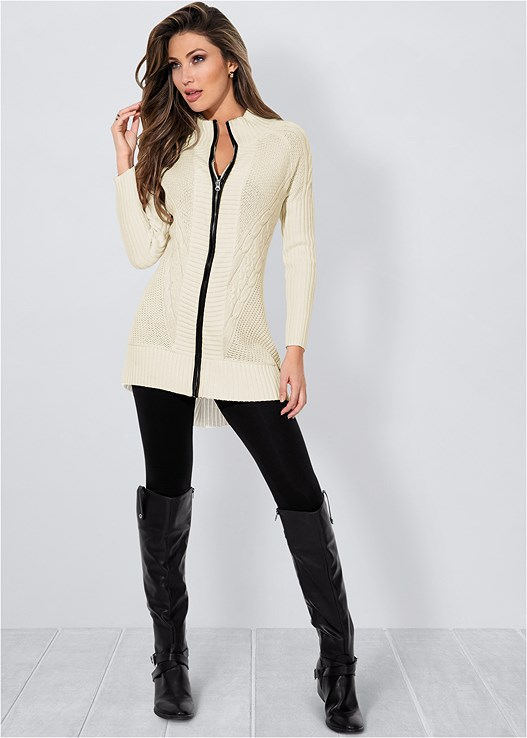 FAUX LEATHER TRIM CARDIGAN,BASIC LEGGINGS,CAGE BALCONETTE BRA,BUCKLE RIDING BOOTS,FOLD OVER BOOT,STUD DETAIL SCARF
