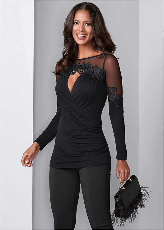 MESH DETAIL SURPLICE TOP,SLIMMING STRETCH JEGGINGS,FAUX FEATHER HANDBAG