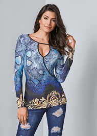 Front View Keyhole Print Top