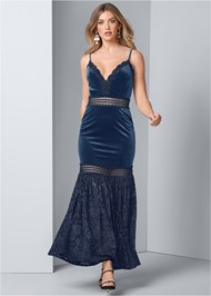 Front View Velvet And Lace Dress