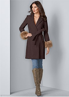 faux fur cuff coat