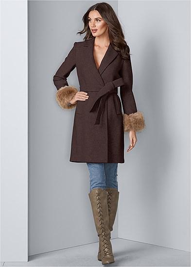faux fur cuff coat