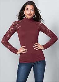 Cropped Front View Seamless Mock Neck Top