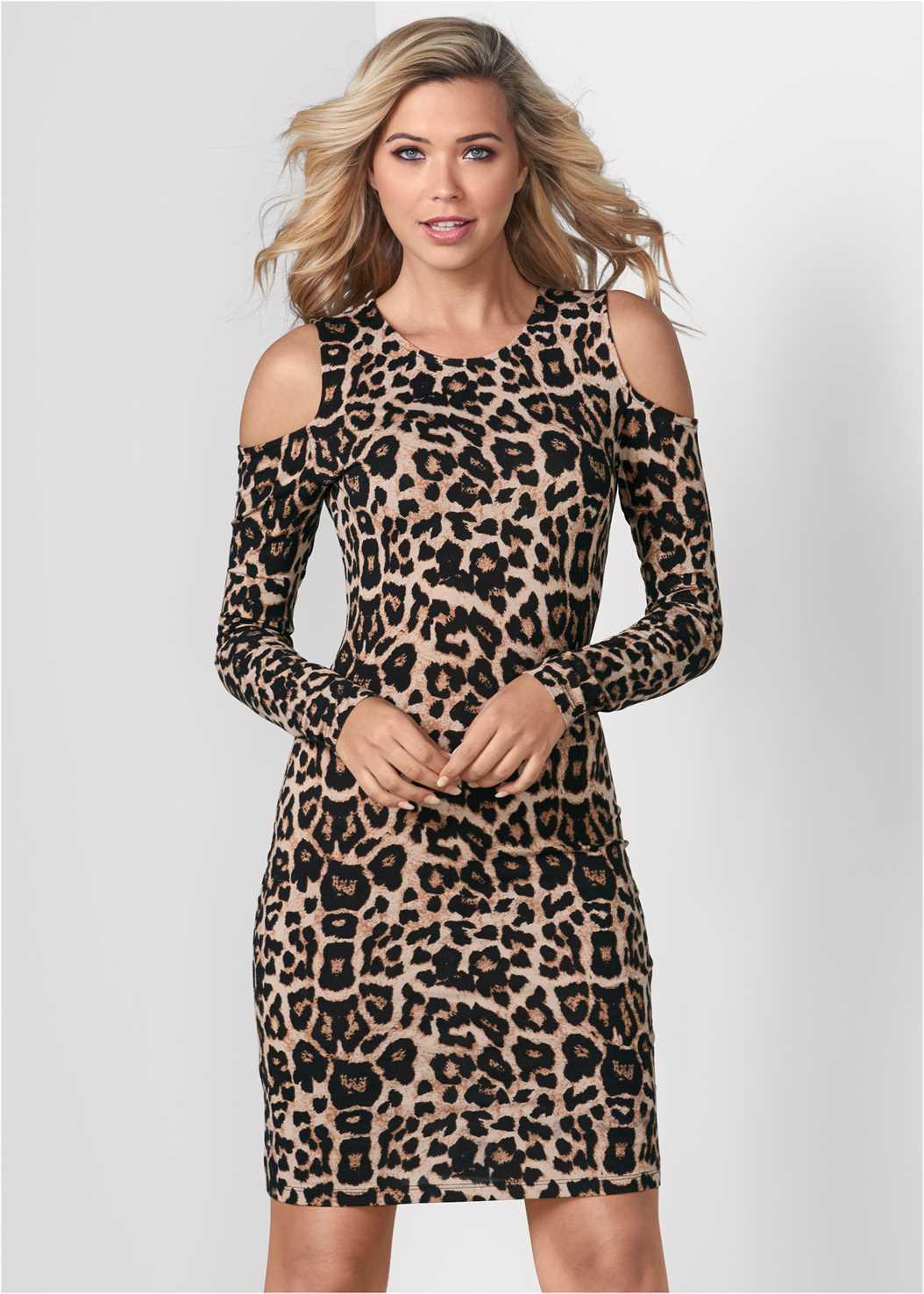 Leopard Print Dress,Heel Embellished Boot