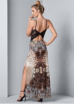 lace python print dress