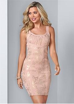 foil print bandage dress