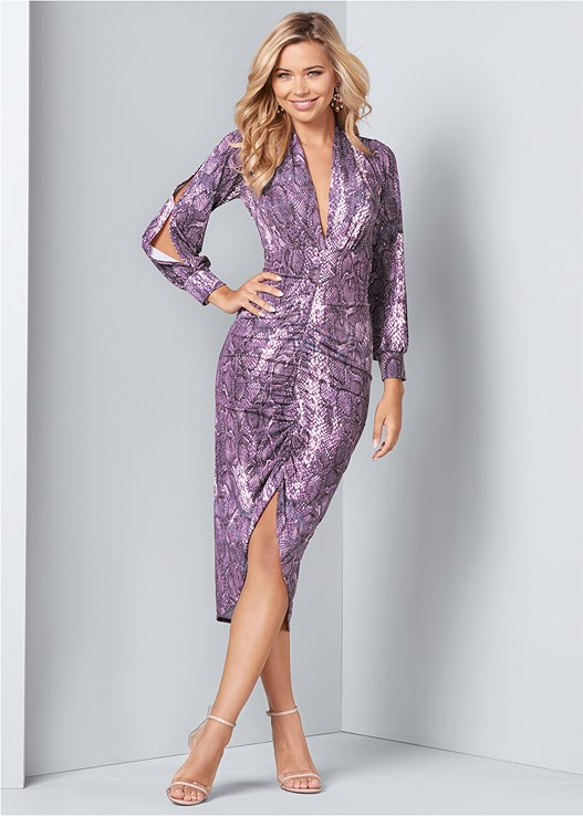 PYTHON PRINT BODYCON DRESS,CUPID U PLUNGE BRA,LUCITE DETAIL HEELS,EMBELLISHED EARRINGS