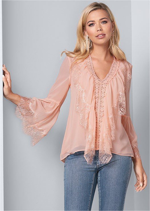 LACE RUFFLE BLOUSE,COLOR SKINNY JEANS,STRAPPY LACE UNDERWIRE BRA,STUD DETAIL LUCITE HEELS,RHINESTONE HOOP EARRINGS