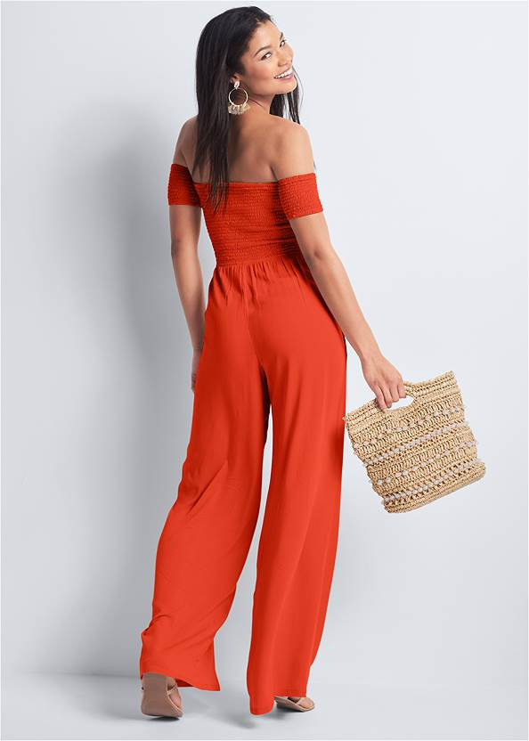 Full back view Smocked Jumpsuit