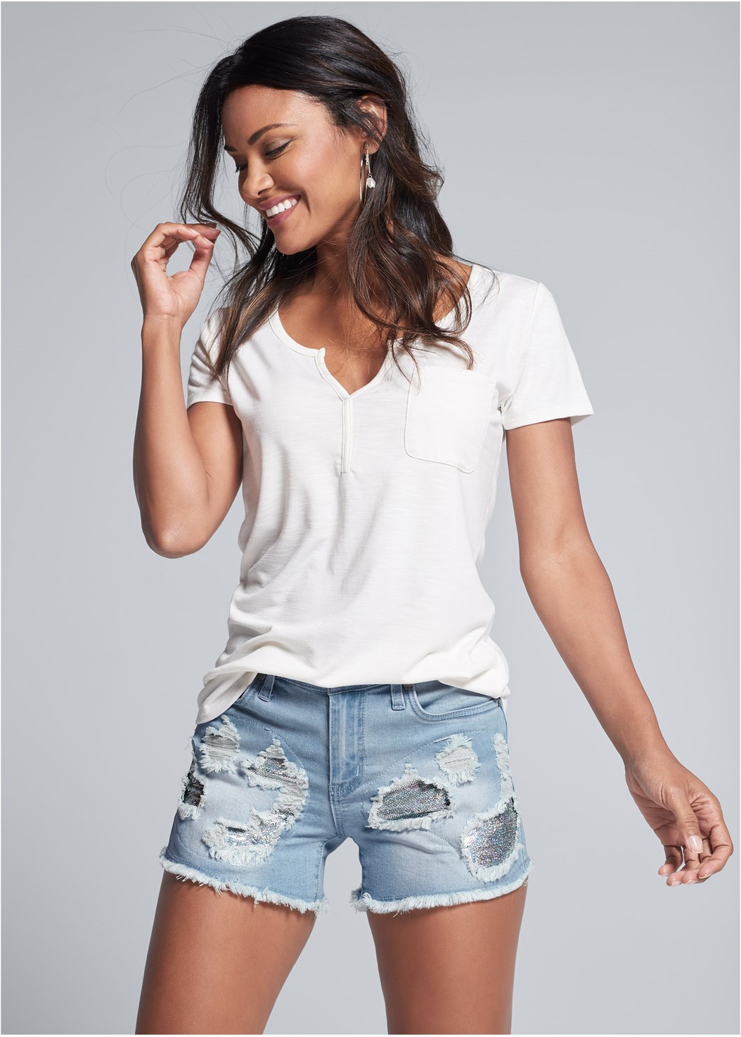 Sequin Patch Jean Shorts,Casual Pocket Tee