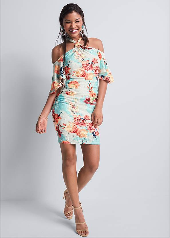 Full front view Floral Eyelet Dress