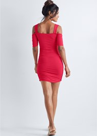 Full back view Cold Shoulder Mini Dress