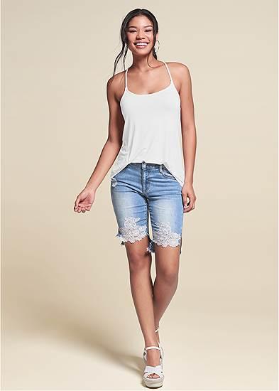 Lace Trim Bermuda Shorts