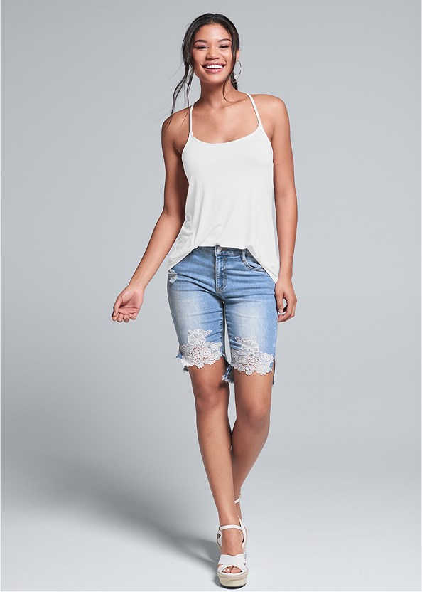 Lace Trim Bermuda Shorts,Back Detail Top,Everyday You Strapless Bra,Embellished Wedges
